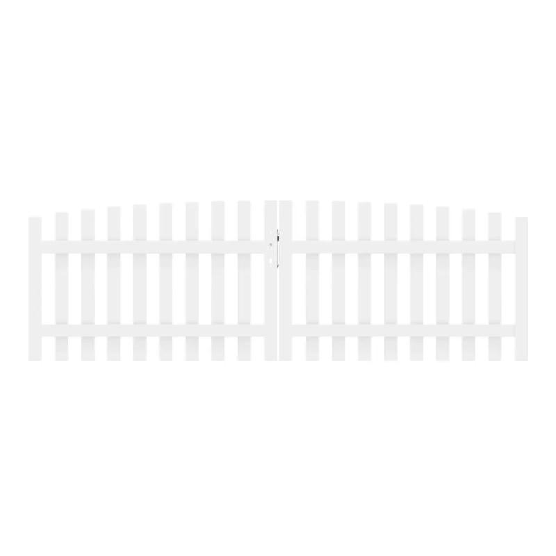 Vorgartenzaun LONGLIFE CARA XL Weiß Doppeltor rund 310 x 90 cm