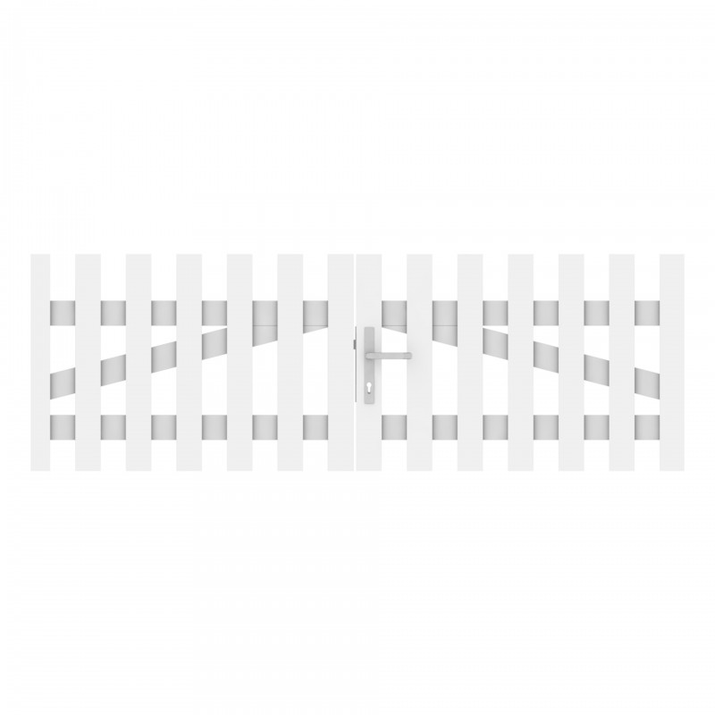Vorgartenzaun LONGLIFE CARA Weiß Doppeltor gerade 310 x 70 cm